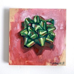 Original fine art oil painting holiday gift bow